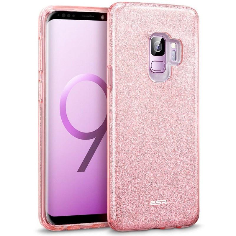 Coque rigide ESR pailletée étincelante Samsung Galaxy S9 Rose