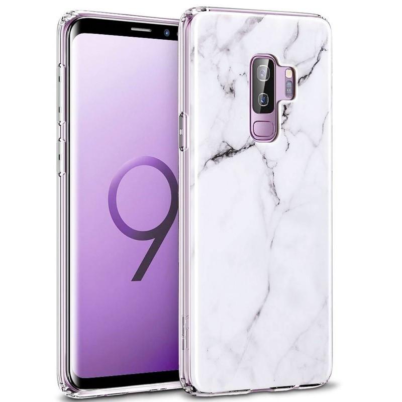 Coque silicone gel ESR Effet Marbré Samsung Galaxy S9 Blanc