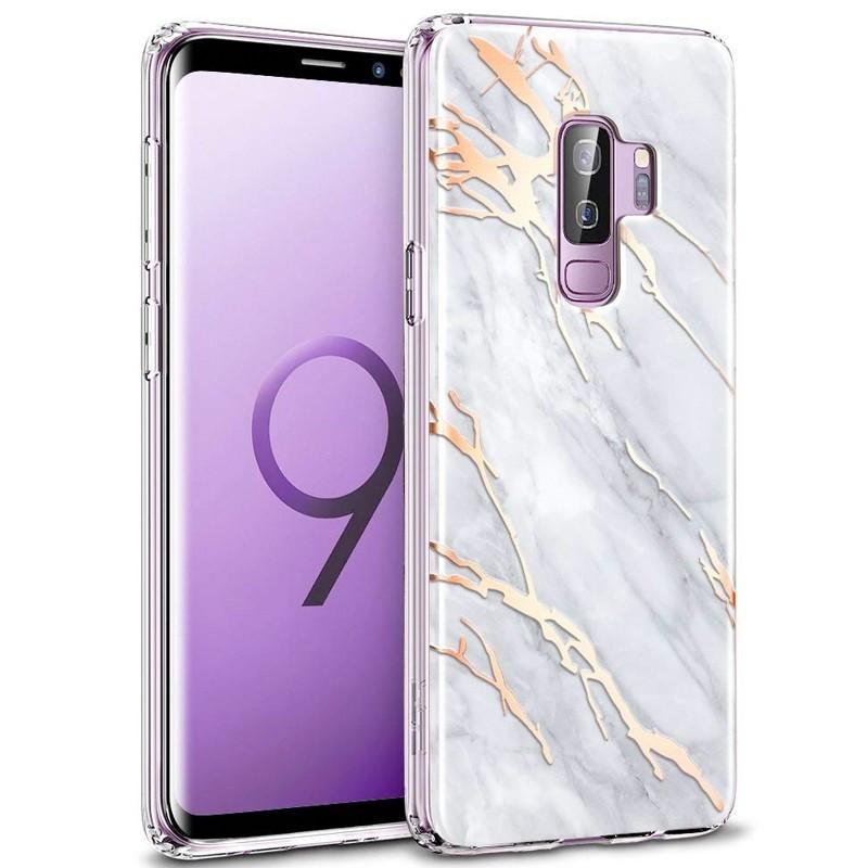 Coque silicone gel ESR Effet Marbré Samsung Galaxy S9 Plus Or