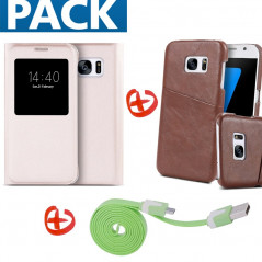 Pack Samsung Galaxy S7 (Coque Vintage + Etui Lychee + Câble microUSB)