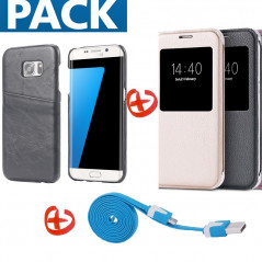 Pack Samsung Galaxy S7 Edge (Coque Vintage + Etui Lychee + Câble microUSB)
