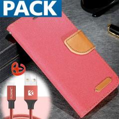 Pack Etui folio CLOTH SKIN + Câble lightning Apple iPhone 6/6S