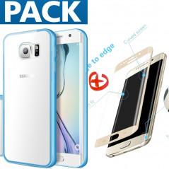 Pack Coque aluminium + Protection écran verre trempé intégrale Samsung Galaxy S7 Edge
