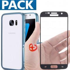 Pack Coque aluminium + Protection écran verre trempé intégrale Samsung Galaxy S7