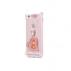 Coque silicone gel HEART STRASS Apple iPhone 6/6S Orange
