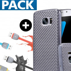 Pack Coque Texture Optic + Câble USB 2-en-1 Lightning-microUSB Samsung Galaxy S7