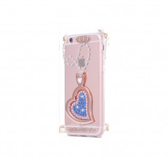 Coque silicone gel HEART STRASS Apple iPhone 6/6S Plus Bleu