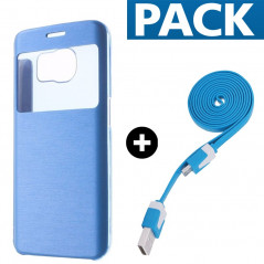 Pack Etui folio + câble microUSB Samsung Galaxy S6 Edge