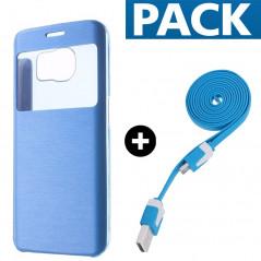 Pack Etui folio + câble microUSB Samsung Galaxy S6 Edge