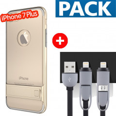 Pack Coque bimatière transparente + Câble USB 2-en-1 Apple iPhone 7/8 Plus