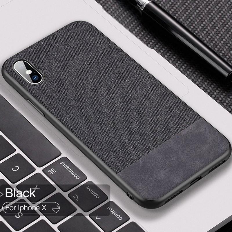 Coque rigide CAFELE FABRIC Series Apple iPhone X Noir