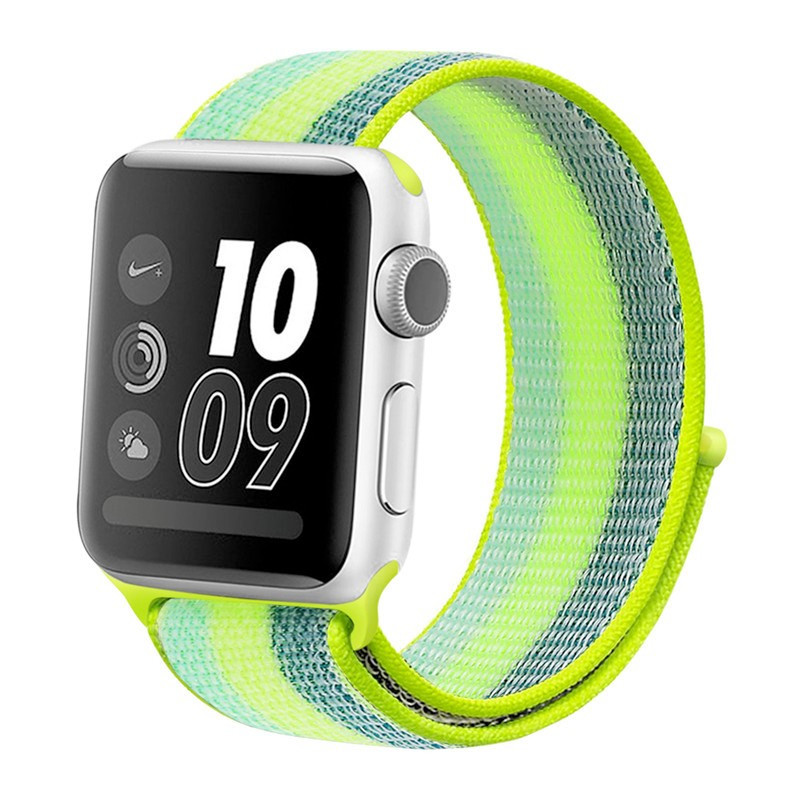 Boucle sport nylon tissé Colorful Apple Watch 1/2/3/4 (42/44mm) Vert