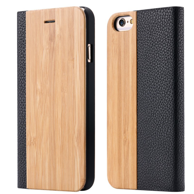 Etui folio Natural Wood Apple iPhone 6/6S Bambou