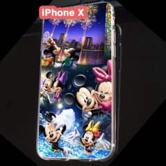 Coque silicone gel Mickey & Minnie Party Apple iPhone X