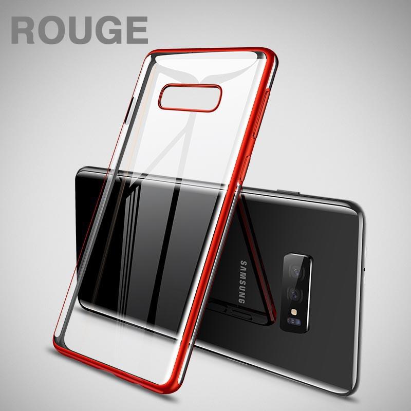 Coque silicone gel CAFELE 3D EDGE Plating contours métallisés Samsung Galaxy S10e Argent Rouge