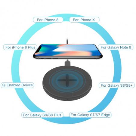 Chargeur rapide sans fil à induction QI NILLKIN BUTTON 10W Noir