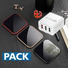 Chargeur rapide QI BENKS W05 CUBE Series 10W + Chargeur secteur CAFELE AR-QC-03 Quick Charge Qualcomm 3.0