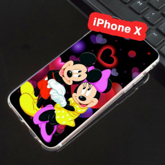 Coque silicone gel Mickey & Minnie in Love Apple iPhone X