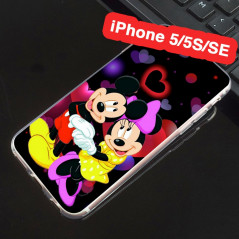 Coque silicone gel Mickey & Minnie in Love Apple iPhone 5/5S/SE