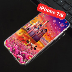 Coque silicone gel Mickey & Minnie Bubble Apple iPhone 7/8