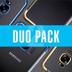 DUOPACK Coque silicone gel FLOVEME 3D Plating contours métallisé Samsung Galaxy S8