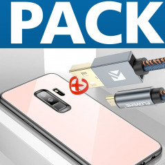 Pack Coque rigide CAFELE Vitros Series + Câble USB Type-C 1mt Floveme Denim Texture Samsung Galaxy S9 Plus