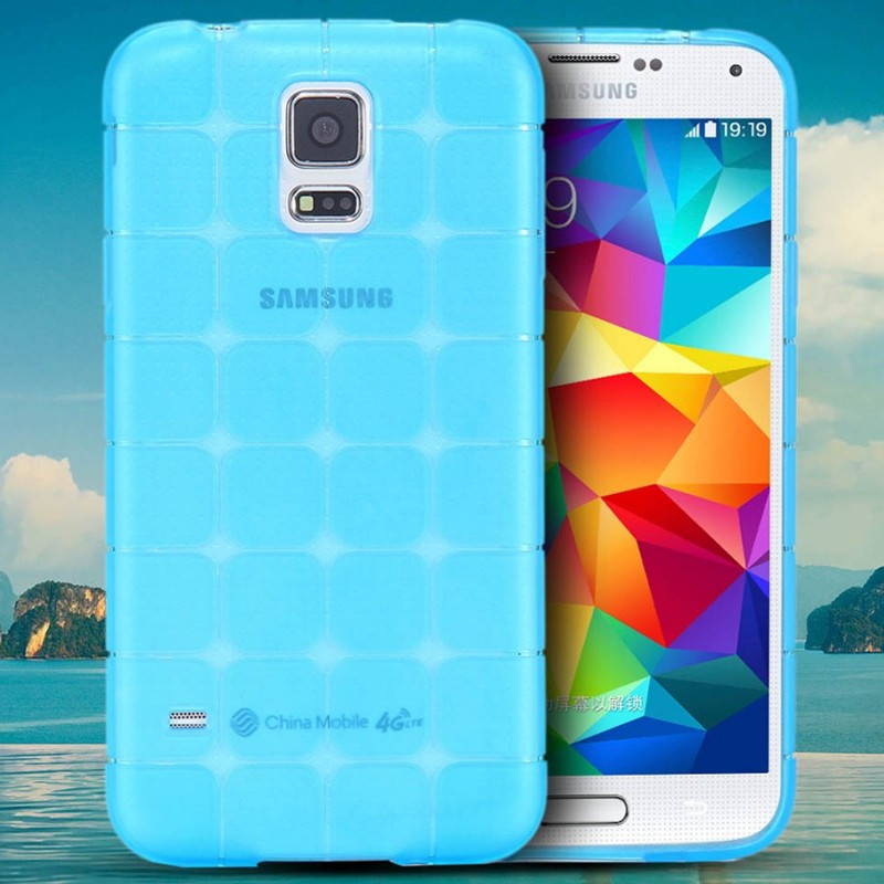 Coque Square Grid Samsung Galaxy S5 Bleu