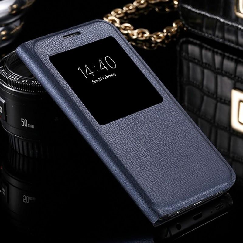 Etui folio View Lychee Skin Samsung Galaxy S7 Edge Bleu foncé