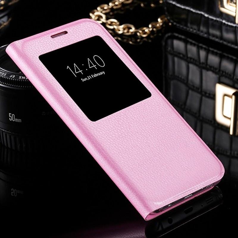 Etui folio View Lychee Skin Samsung Galaxy S7 Edge Rose clair