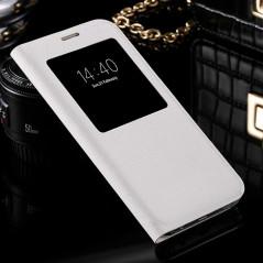 Etui folio View Lychee Skin Samsung Galaxy S7 Blanc
