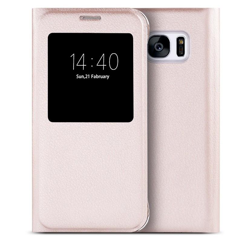 Etui folio View Lychee Skin Samsung Galaxy S7 Or
