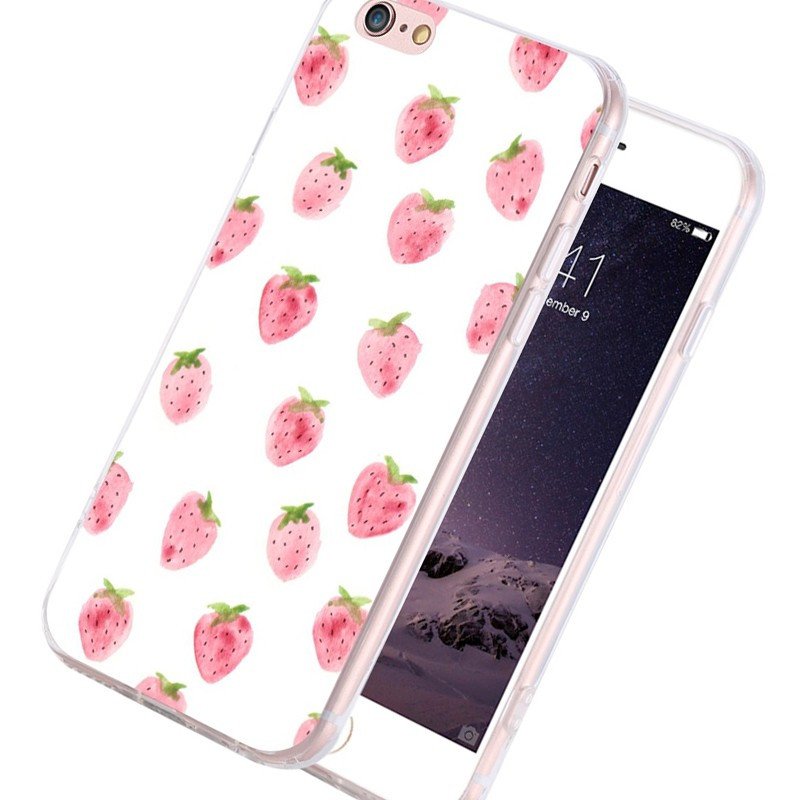 Coque silicone gel FRAISE Apple iPhone 6/6s