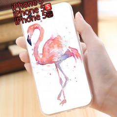 Coque silicone gel FLAMAN ROSE Apple iPhone 5/5S/SE