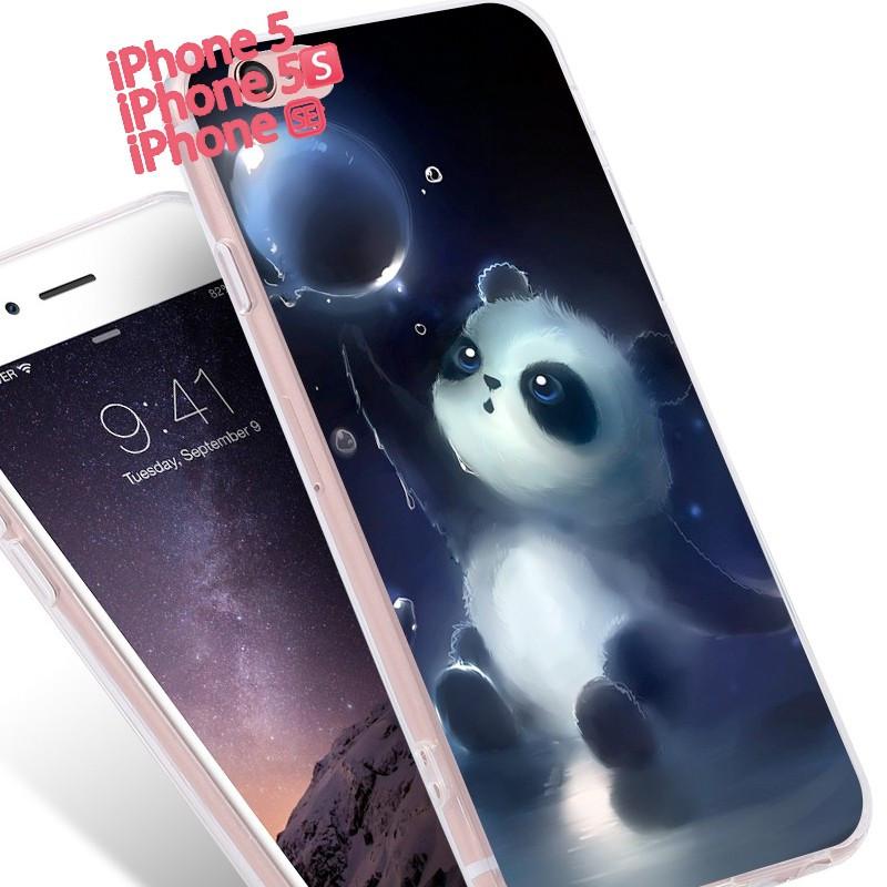 Coque silicone gel PANDA Apple iPhone 5/5S/SE